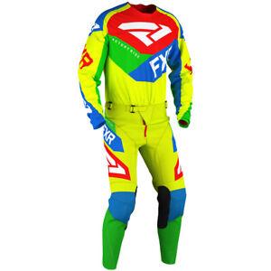 Brand New FXR Adult Podium Air HiVis/Blue Motocross MX Kit Size 28W Small Jersey