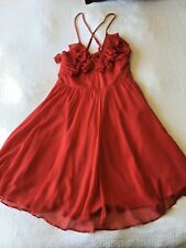 WISH 100% silk frilled womens cross - over back women's dress size 12