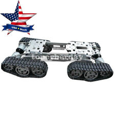 RC Tank Car Truck Robot Chassis CNC Alloy Body 4 Plastic Track 4 Motors US