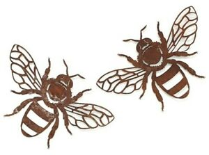 Bumble Bee Pair Rustic Metal Hanging Wall Art Honey Laser Cut Garden Décor Set/2