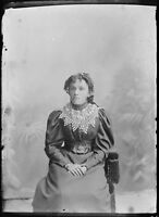 Antique 5x7 Glass Plate Negative a Young Lady in Elegant Period Dress V60