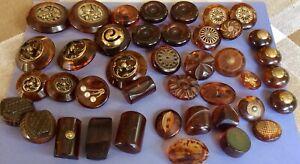41 Vintage Tortoise Bakelite Buttons, Shapes, Sets, Metal Trims