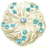 VINTAGE 1970s BLUE RHINESTONES FLOWER BROOCH PIN SILVER TONE FILIGREE METAL