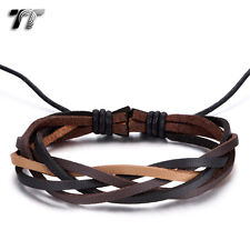 Quality TT Genuine Soft Brown/Black Leather Bracelet Wristband (LB344)