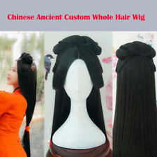 Chinese Ancient Custom Whole Hair Wig Long Hairpiece For Cosplay Party Black
