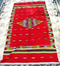 Antique Saltillo Blanket Rug *Mexican* Large Red c.1940'S !Vibrant Colors!