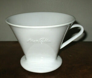 MELITTA WHITE PORCELAIN 1 HOLE DRIP CONE POUR OVER COFFEE FILTER HOLDER