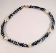 """Park Lane Signed 18"""" Necklace Twisted Grey, White And Gold Faux Pearls"""