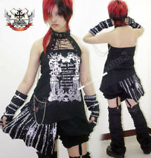 Goth DECONSTRUCT CHOKER COSET HALTER+Barbed Wire GLOVES