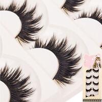 5 Pairs Soft Makeup Thick False Eyelashes Eye Lashes Long Black Nautral Sanwood