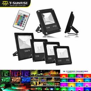 T-SUN RGB Changing LED 16 Colors LED Flood Light Spotlights Garden Remote Lamps