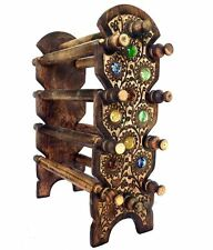 Wooden Handcrafted Antique Bangle Stand 10 Rods & Free 2 Bangles For Rakhi Gift