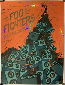 Foo Fighters Milwaukee poster Foil variant rare 2021 7/30