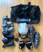 Boys Roller & Ice Hockey Equipment Bundle - Skates Helmet Shin Guards Nike Bag