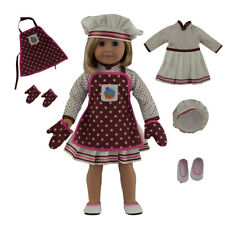 """MangoPeaches: BAKER DOLL OUTFIT, 5 Pcs DELUXE SET, Fits 18"""" American Girl DollS"""