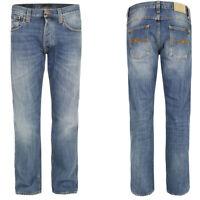 Neu Nudie Herren Regular Straight Fit Jeans Hose - Average Joe Vacation Worn