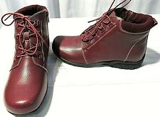 PROPET WOMEN'S LEATHER BURGUNDY DELANEY ANKLE LACE BOOTS SIZE 9.5 W NWOB
