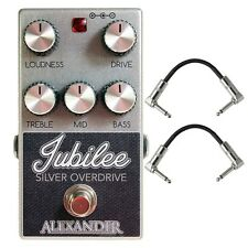 Alexander Pedals Jubilee Silver Overdrive Guitar Effects Pedal with Patch Cables