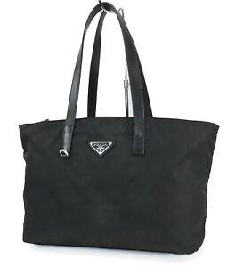 Authentic PRADA Black Nylon and Leather Tote Shoulder Bag Purse #40782