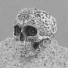 Solid 925 Sterling Silver Skull Ring, Biker Gothic Rock Punk Ring, Mens Ring