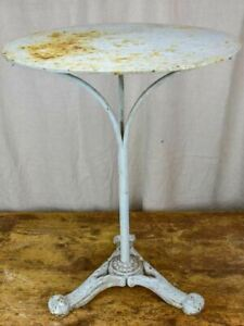 Antique French garden table with pale blue patina