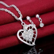 Silver Crystal Rhinestone Love Heart Necklace Earring Wedding Bridal Jewelry Set