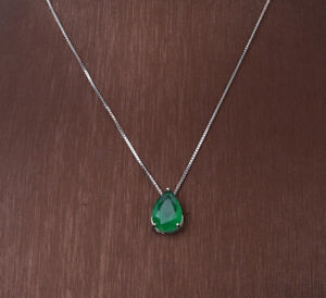 DROP EMERALD .925 SOLID STERLING SILVER NECKLACE #38592