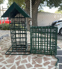 Lot of 2 Metal Squirrel Resistant Bird Feeder Cages Green Hanging