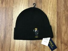 MENS ONE SIZE - Polo Ralph Lauren POLO BEAR MARTINI Beanie Hat Black Wool Mix
