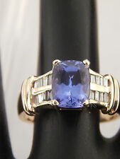2.65 tcw D-Block Tanzanite Diamond F/SI 14k Yellow Gold Designer Engagement Ring