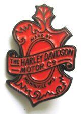 11693 HARLEY DAVIDSON PIN BADGE ORANGE & BLACK LARGE SHIELD LOGO MOTORCYCLE BIKE
