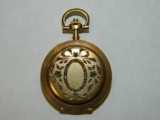 Vintage Paris Grand Prix 1900 Diamond Emerald 18K Solid Yellow Gold Pocket Watch