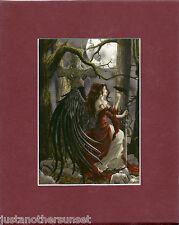 Nene Thomas Memento Burgundy Red Matted Print Fairy Faery Grave Crow Moon Sword