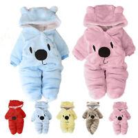 Newborn baby boys girls winter thick warm cotton fleece padded bodysuit cute