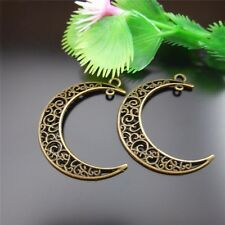 10PCS Retro Bronze Copper Metal Crescent Charms Pendants Jewelry Wholesale 51529