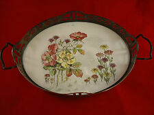 Silverplate Cordial Tray with Flowers