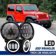 """7"""" Inch 75W DRL LED Headlights Hi/Lo & Fit Fog Lamp JEEP Wrangler JK TJ YJ 97-17"""