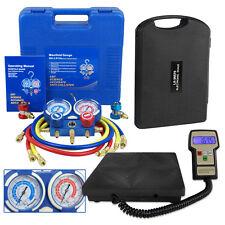 R134a Hvac Manifold Gauge Air Condition Ac And Digital Refrigerant Scale Set