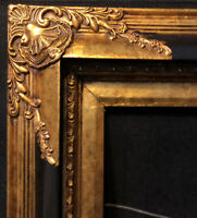 "Vintage Gold Leaf Wood Baroque Picture Frame Black Gold Gilded 43.5"" x 31.5"""