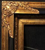 Vintage Gold Leaf Wood Baroque Picture Frame Black Gold Gilded Holds 35.5x23.25