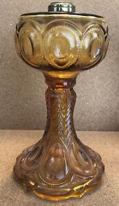 """Antique Amber Glass Oil/Kerosene Lamp Base Pedestal EAPG 9"""" No 1 Burner"""