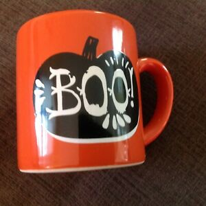 Crate & Barrel Halloween Orange Child's Mug 7 oz NEW Hot Chocolate Kids Mug
