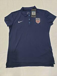 NIKE USA Women Soccer Team Dry Fit  Blue Polo Shirt USWNT SIZE Medium . RARE