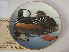 1988 The Hamilton Collection Hooded Mergansers Plate By Rod Lawrence