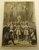 1879 magazine engraving ~ DANCE OF THE SIXTEEN ~ Cathedral of Seville ~ SPAIN