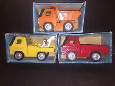 Vintage 1970's Bandai Heavy Steel Fat Kat Dump, Wrecker & Pick-Up Truck in Box's