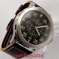 44mm PARNIS luminous hands black dial GMT Date Automatic Mechanical men's Watch