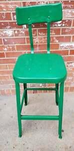 Vintage Lyon Industrial Stool Metal Factory Drafting Lab Chair Green