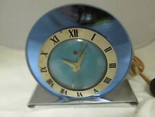 ART DECO TELECHRON BLUE GLASS MIRROR ON CHROME CLOCK J.M. BARS DES.