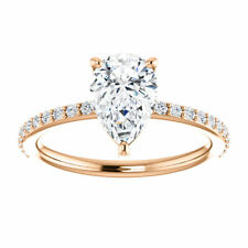 14K Rose Gold Pear Forever One™ Moissanite & 1/5 CTW Diamond Engagement Ring
